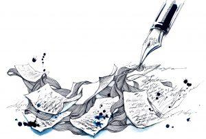 kroontjespen, inkt en beschreven bladzijden
